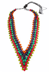 Collier Col en V Perles en Bois multi couleurs Trés Original - Anis - Rouge - Vert - Violet- Orange