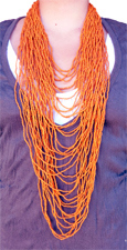 Collier extra long orange en rocailles