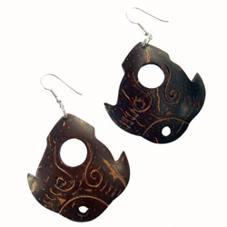 Boucles d'Oreilles originales Grands Pendants En Coco Raies Manta